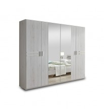 Šatní skříň Susan 225 cm (bílý dub, 2x zrcadlové dveře)