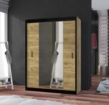 Šatní skříň Tofta - 120x215x61 cm (dub craft, černá)