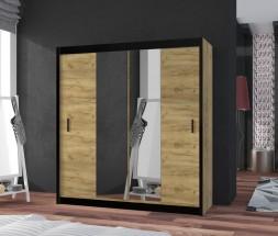 Šatní skříň Tofta - 203x215x61 cm (dub craft, černá)