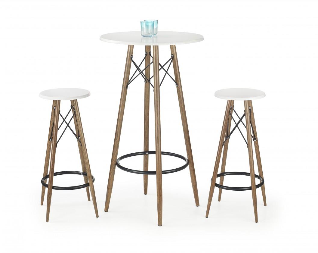 SB-10 - Barový stůl (bílá, hnědá)
