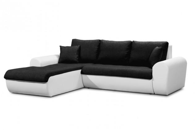 Sedací souprava tvar U Rohová sedačka rozkládací Yvette levý roh bílá, černá