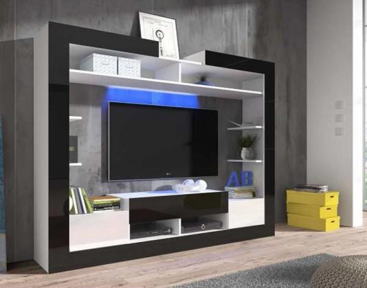 Sek - obývací stěna (bílá/černá/bílá)