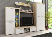 Sergio II - obývací stěna, LED (san remo světlý/bílá)