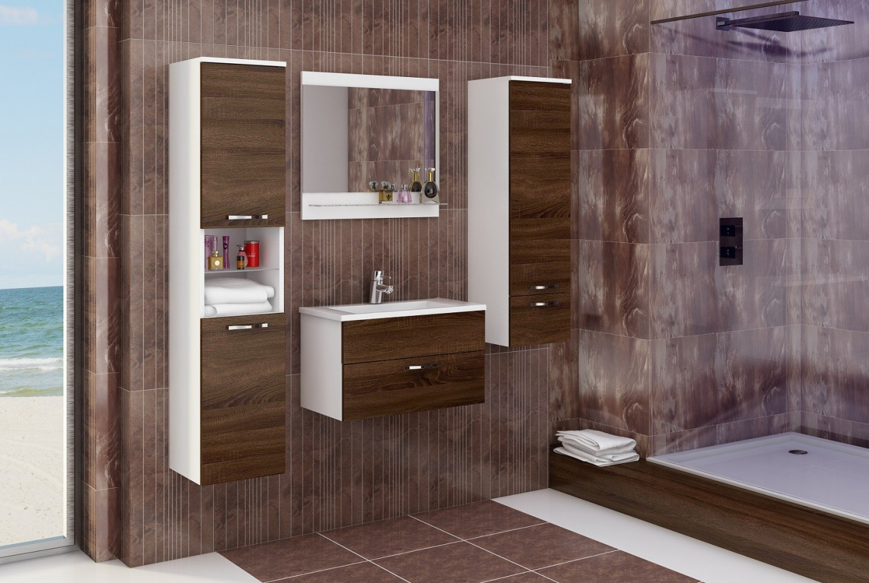 Sestava do koupelny Adel - Sestava s umyvadlem (bílá/sonoma čokoládová)