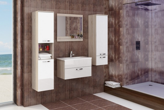 Sestava do koupelny Adel - Sestava s umyvadlem (sonoma/bílý lesk)