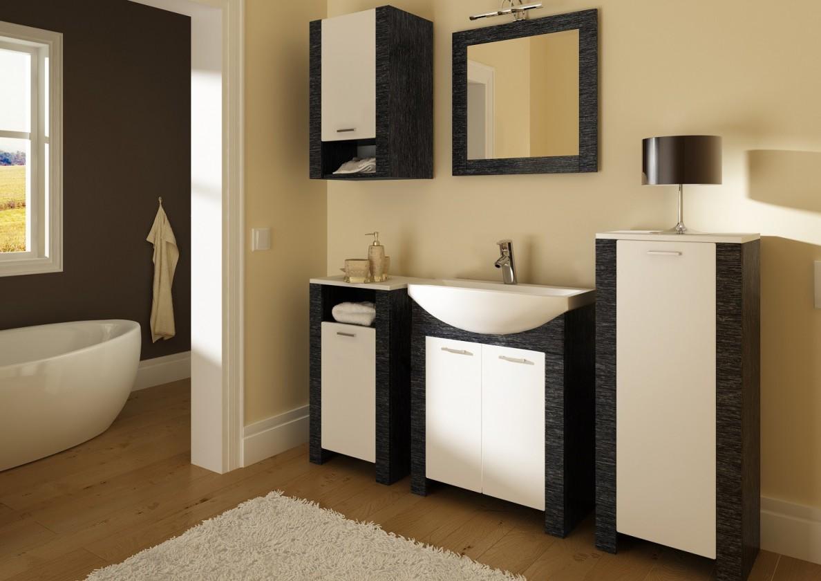 Sestava do koupelny Venezia-koupelnová sestava (dveře bílé a černé,boky černé)