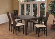 Set 1 - 6x židle, stůl, rozkládací (ořech tmavý/lana 22/buk)