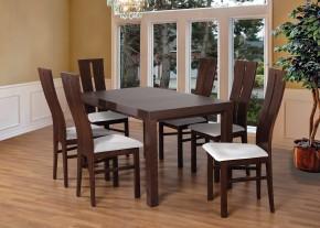 Set 1 - 6x židle, stůl, rozkládací (ořech tmavý/madryt 120/buk)