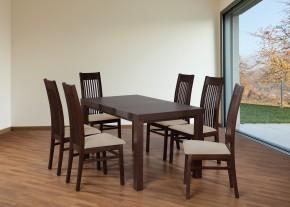 Set 6 - 6x židle,1x stůl,rozklad (ořech tmavý/lana 22/buk)