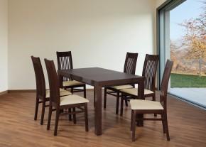 Set 6 - 6x židle,1x stůl,rozklad (ořech tmavý/madryt 111/buk)