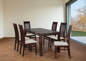 Set 6 - 6x židle,1x stůl,rozklad (ořech tmavý/nubuk 111W/buk)