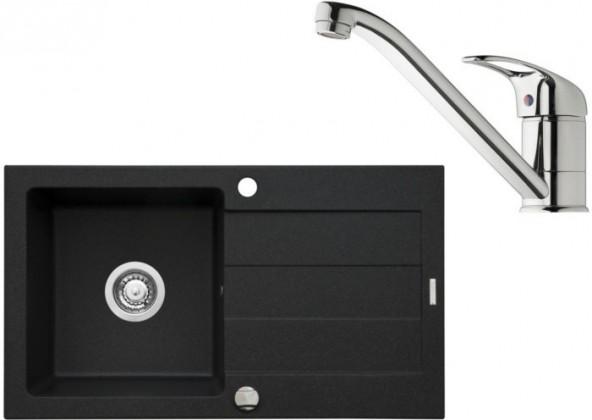 SET R1 - Dřez Sparta 76x44 + Accel Micro, černá