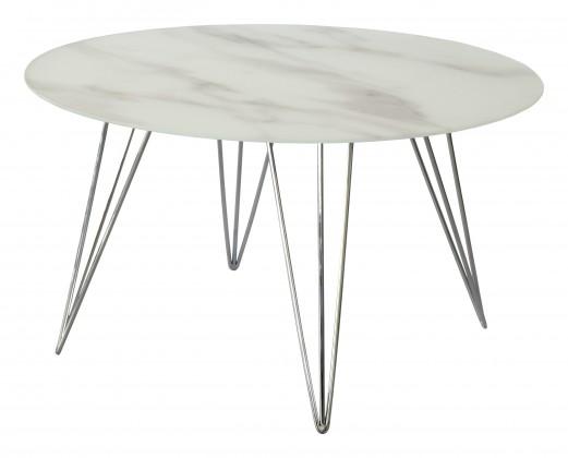 Sevilla - konferenční stolek, skleněná deska, chromové nohy