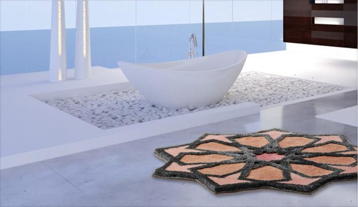 Sherezad - Předložka kruh, 120 cm (růžová-broskvová-stříbrná)