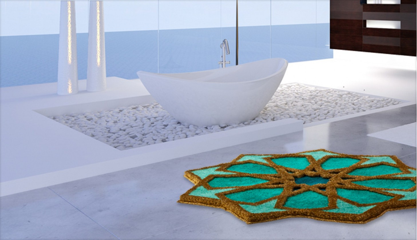 Sherezad - Předložka kruh, 120 cm (smaragdová-tyrkysová-zlatá)