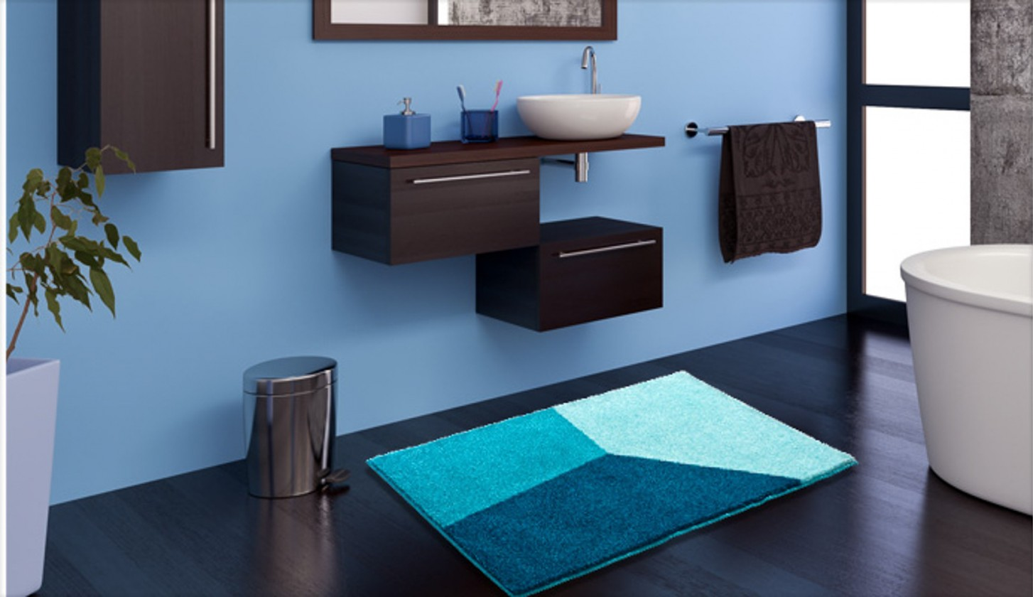 Shi - Koupelnová předložka 70x120 cm (ledově modrá-petrolejová)