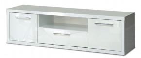 Shine - TV komoda, 3x zásuvka (bílá lesk)