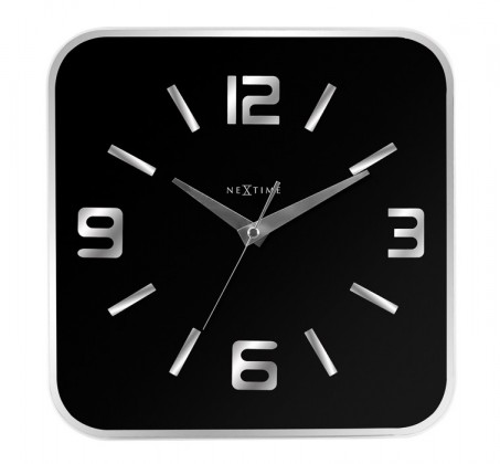 Shoko black - hodiny, nástěnné, hranaté (sklo, černé)
