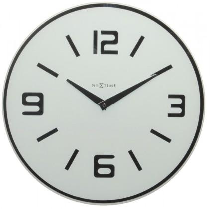 Shuwan - hodiny, nástěnné, kulaté (mléčné sklo, bílé)