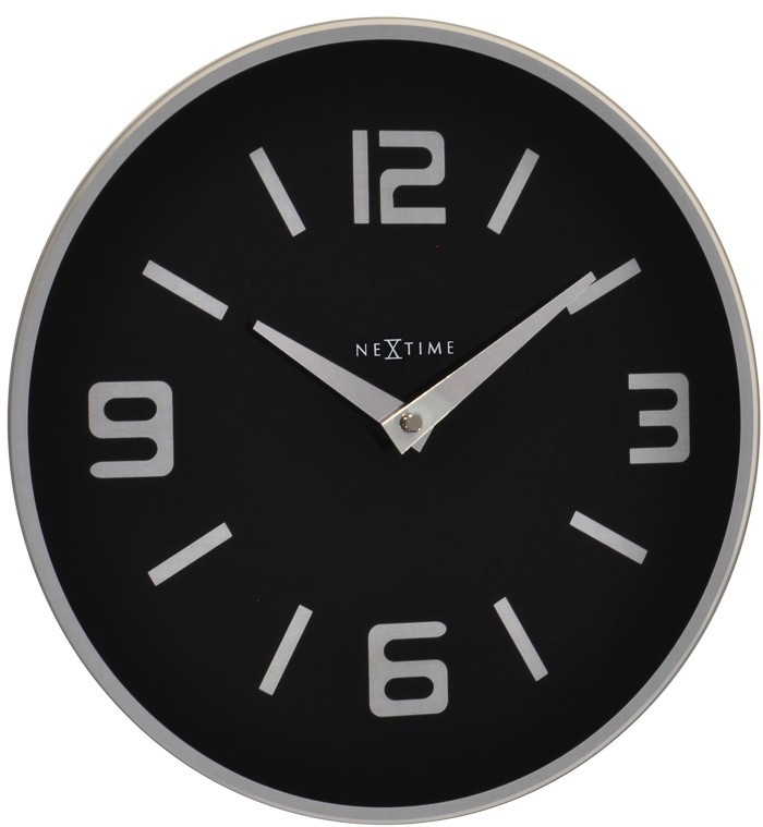 Shuwan - hodiny, nástěnné, kulaté (sklo, černé)