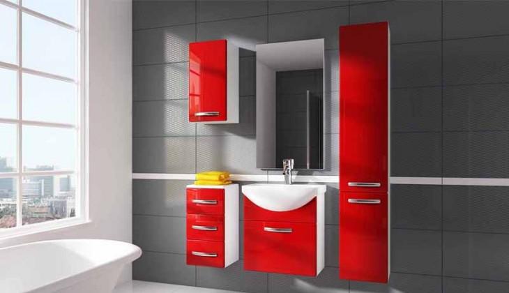 Siracusa - koupelnová sestava s umyvadlem (červená)