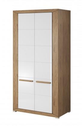 Skřín Lumi - Obýváková skříň, 2 dveře (dub beaufort, bílý lesk)