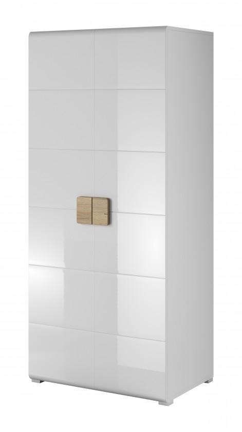 Skřín Toledo - Obývací skříň, 2 dveře (bílá, dub san remo)