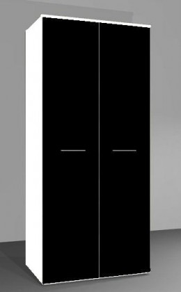 Skřín Uni - Skříň univerzální (bílá/černá lesk)