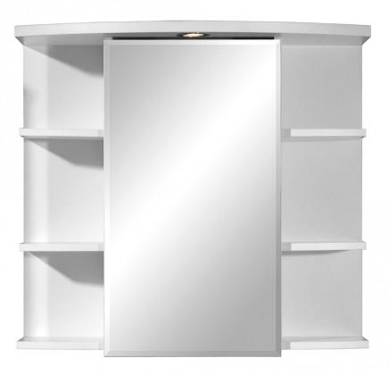 Skříňka nad umyvadlo Hans - zrcadlová s policemi a osvětlením (bílá)