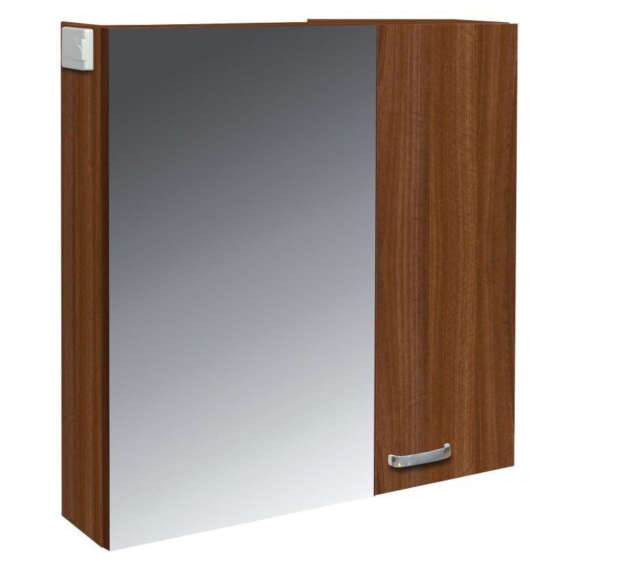 Skříňka nad umyvadlo Melbourne - Zrcadlová skříňka, zrcadlo vlevo (ořech/ořech)