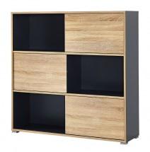 Slide - regál s posuvnými dveřmi, 119 cm (antracit/dub sonoma)