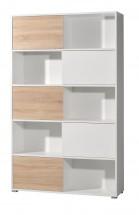 Slide - regál s posuvnými dveřmi, 196 cm (bílá/dub sonoma)