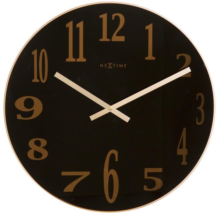 Smoky Mirror - hodiny , nástěnné, kulaté (sklo, černé)