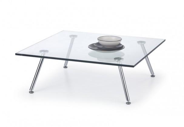 Solo - Konferenční stolek čtvercový (transp. sklo, nohy chrom)