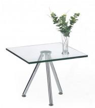 Solo - Konferenční stolek čtvercový, vyšší (transp. sklo, chrom)