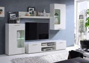 Spot - Obývací stěna s osvětlením (bílý mat/lesk)