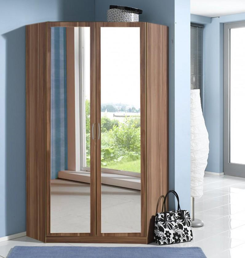 Sprint - rohová skříň,198 cm,2x zrcadlo (francouzský ořech)