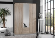 Sprint - skříň 135 cm,3x dveře,1x zrcadlo (dub hrubá struktura)