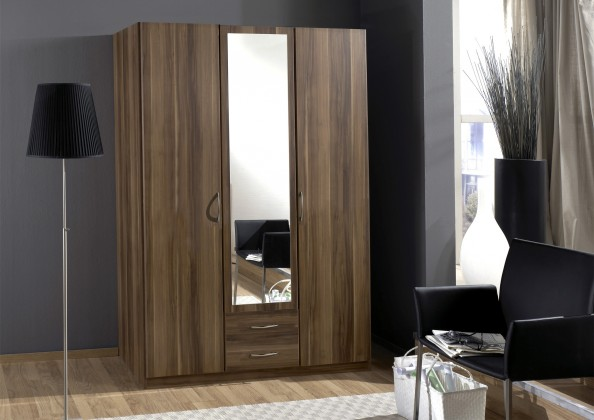 Sprint - skříň 135 cm,3x dveře,1x zrcadlo (francouzský ořech)