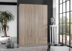 Sprint - skříň 135 cm,3x dveře,2x police (dub hrubá struktura)