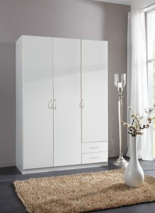 Sprint - skříň 135 cm,3x dveře,2x zásuvka (alpská bílá)