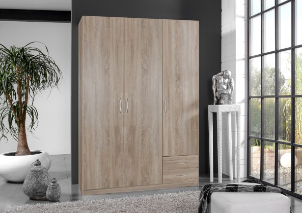 Sprint - skříň 135 cm,3x dveře,2x zásuvka (dub hrubá struktura)