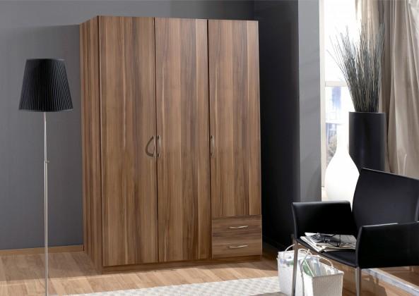 Sprint - skříň 135 cm,3x dveře,2x zásuvka (francouzský ořech)