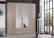 Sprint - skříň 180 cm,4x dveře,2x zrcadlo (dub hrubá struktura)