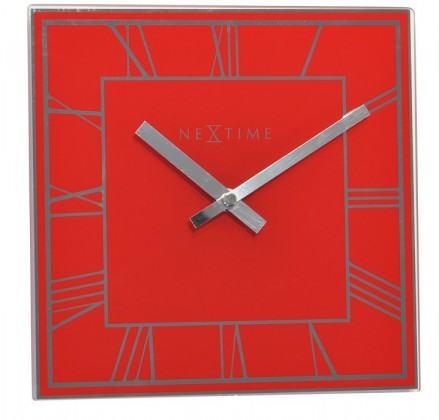 Square Roman - hodiny, nástěnné, hranaté (sklo, červené)