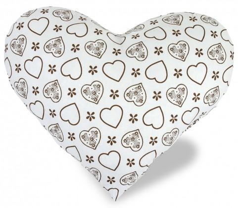 Srdce - Polštářek, bavlna (srdce hnědé na bílé)
