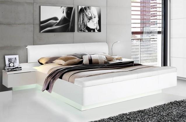 Starlet Plus - Postel 180x200, noční stolky (bílá lesk)