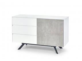 Stonno - komoda 3 zás, 1 dvířka (bílá/beton)