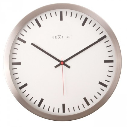 Stripe - hodiny, nástěnné, kulaté (sklo, nerez, bílé)