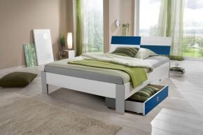 Sunny - Postel s úložným priestorom, 140x200cm (bílá s modrou)
